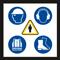 Die Abbildung 9 der lebenswichtigen Regeln zeigt die vier wesentlichen Bestandteile der persönlichen Schutzausrüstung. Dazu gehören Bauhelm, Gehörschutz, Warmweste sowie Sicherheitsschuhe. In der Mitte der Abbildung befindet sich eine menschliche Figur in einem gelben Dreieck.